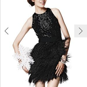 Milly Blair Sequin/Ostrich Feather Dress, Size 4-6